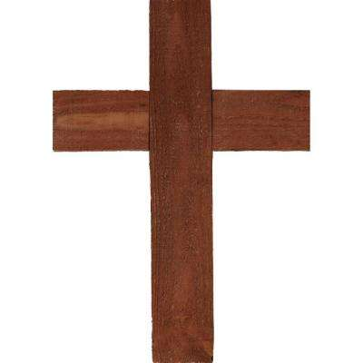 12 in. x 16 in. x 1-1/2 in. Barnwood Decor Collection Salvage Red Vintage Farmhouse Cross Wooden Wall Art