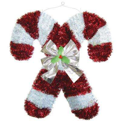 18 in. x 17 in. X 2 in. Deluxe Candy Cane Tinsel Decoration (2-Pack)