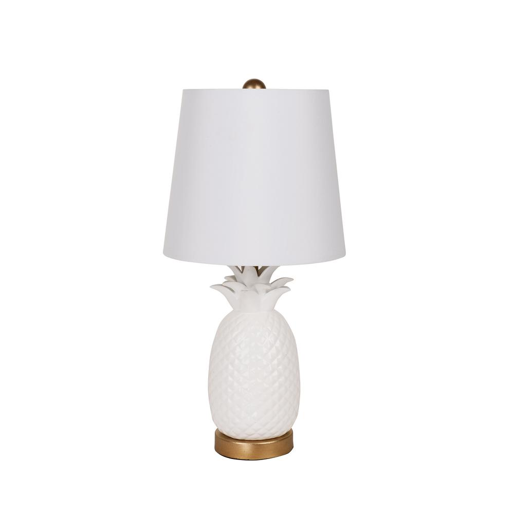 18.5 in. White Pineapple Table Lamp with White Linen Shade