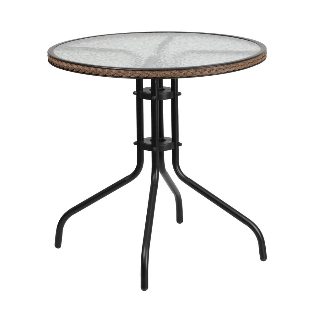 28 in. Round Tempered Glass Metal Patio Bistro Table with Dark