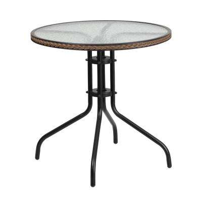 28 in. Round Tempered Glass Metal Patio Bistro Table with Dark Brown Rattan Edging