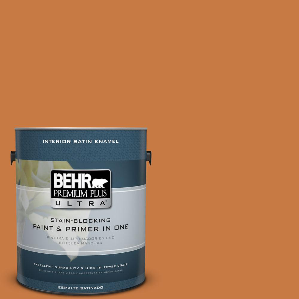 BEHR Premium Plus Ultra 1-gal. #M230-7 Rumba Orange Satin Enamel Interior Paint
