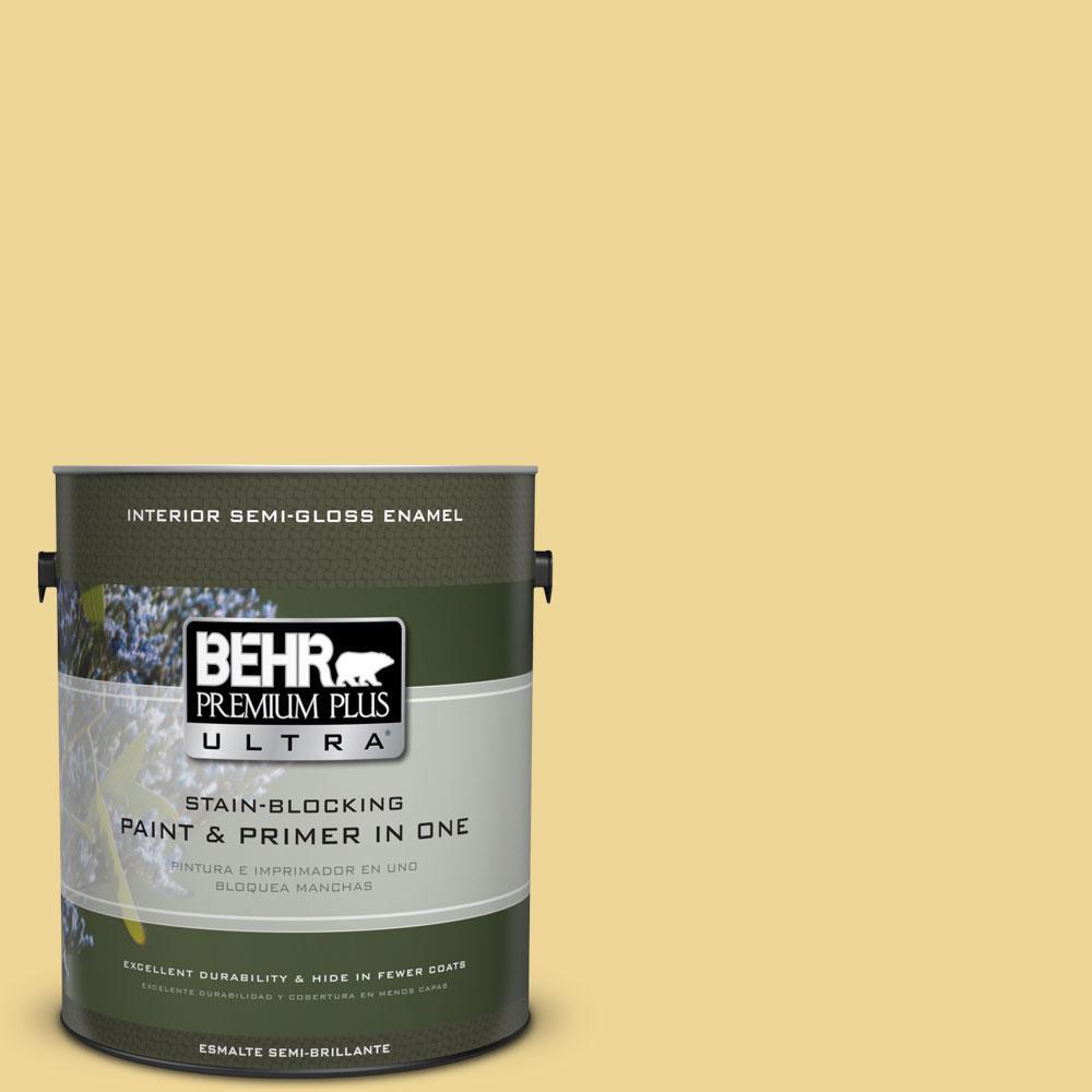 BEHR Premium Plus Ultra 1-gal. #370D-4 Mustard Seed Semi-Gloss Enamel Interior Paint