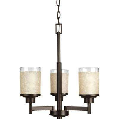 Alexa Collection 3-Light Antique Bronze Chandelier with Etched Umber Linen Glass Shade
