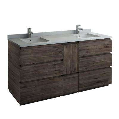 Formosa 72 in. Modern Double Vanity in Warm Gray with Quartz Stone Vanity Top in White with White Basins