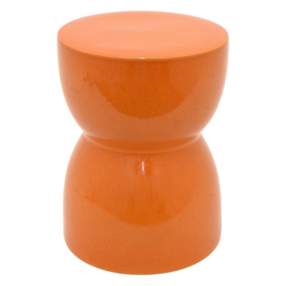 13 in. x 13 in. x 16.75 in. Orange Ceramic Garden Stool/Side Table