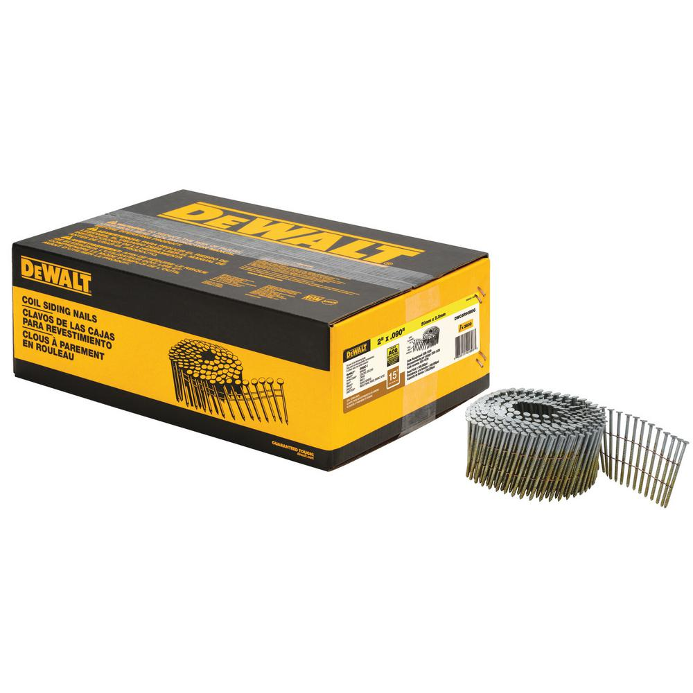 Dewalt 2 In X 0 090 In Metal Coil Ring Shank Nails 3600 Per Box Dwc6r90bdg The Home Depot