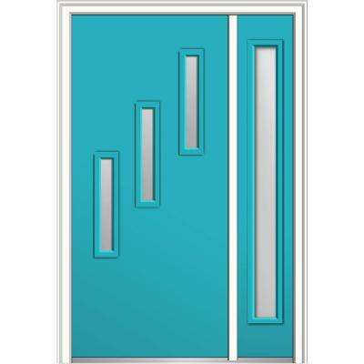 50 in. x 80 in. Davina Frosted Glass Right-Hand 3-Lite Modern Painted Fiberglass Smooth Prehung Front Door with Sidelite