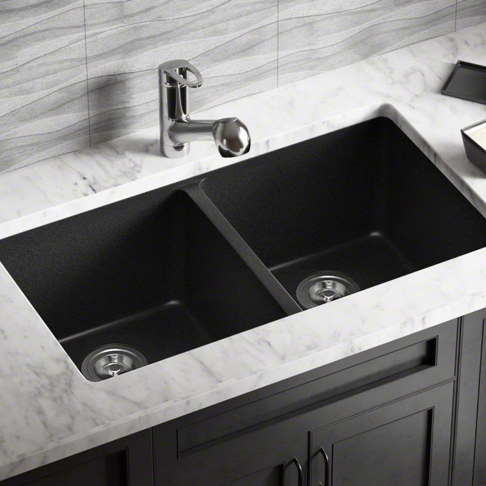 MR Direct Undermount Granite Composite 32.5 in. 0-Hole Double Bowl Kitchen  Sink in Black