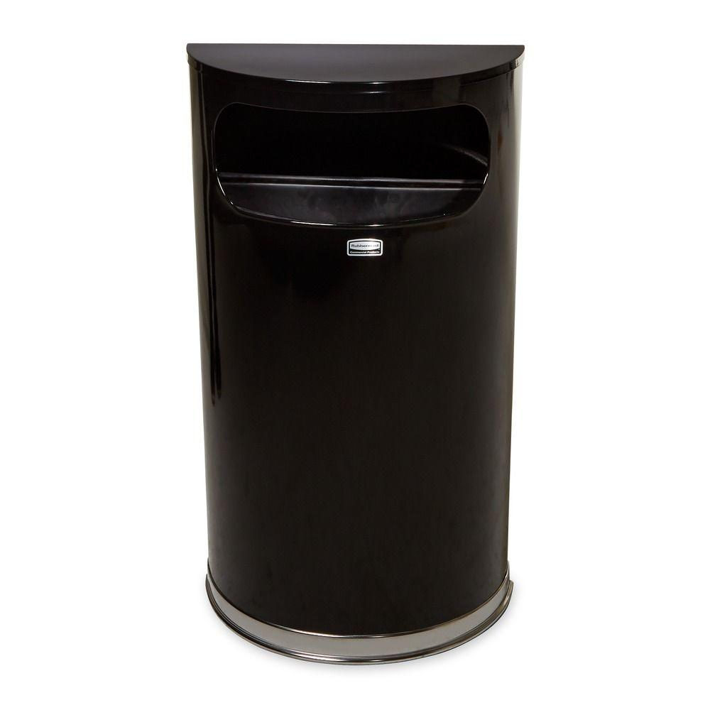 Black Chrome Half Round Open Side Fire Safe Trash Can