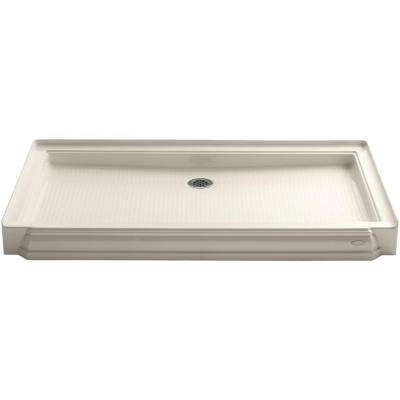 Memoirs 60 in. x 34 in. Single Threshold Shower Base in Almond