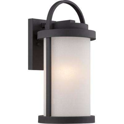 1-Light Textured Black Outdoor Integrated LED Wall Mount Sconce