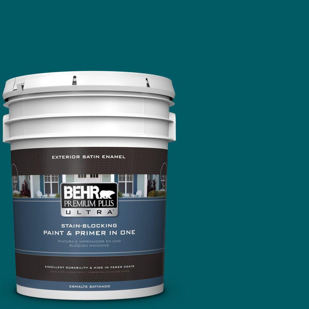 BEHR Premium Plus Ultra 5-gal. #S-H-530 Tropical Skies Satin Enamel Exterior Paint