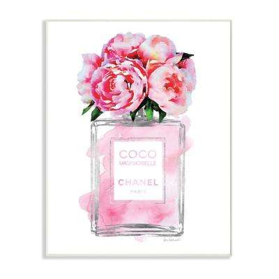 "12.5 in. x 18.5 in. ""Glam Perfume Bottle V2 Flower Silver Pink Peony"" by Amanda Greenwood Printed Wood Wall Art"