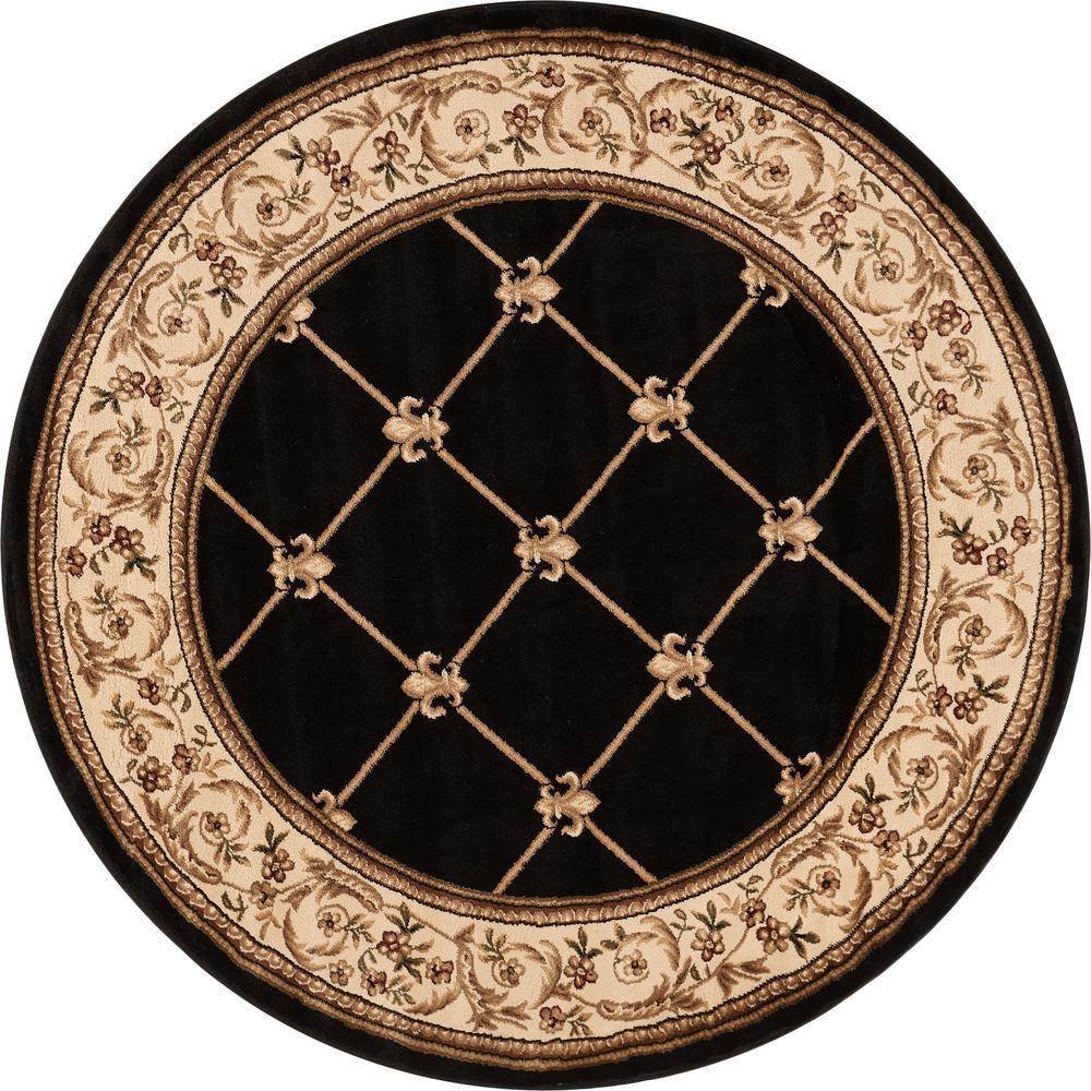 Well Woven Timeless Fleur De Lis Black Traditional Trellis