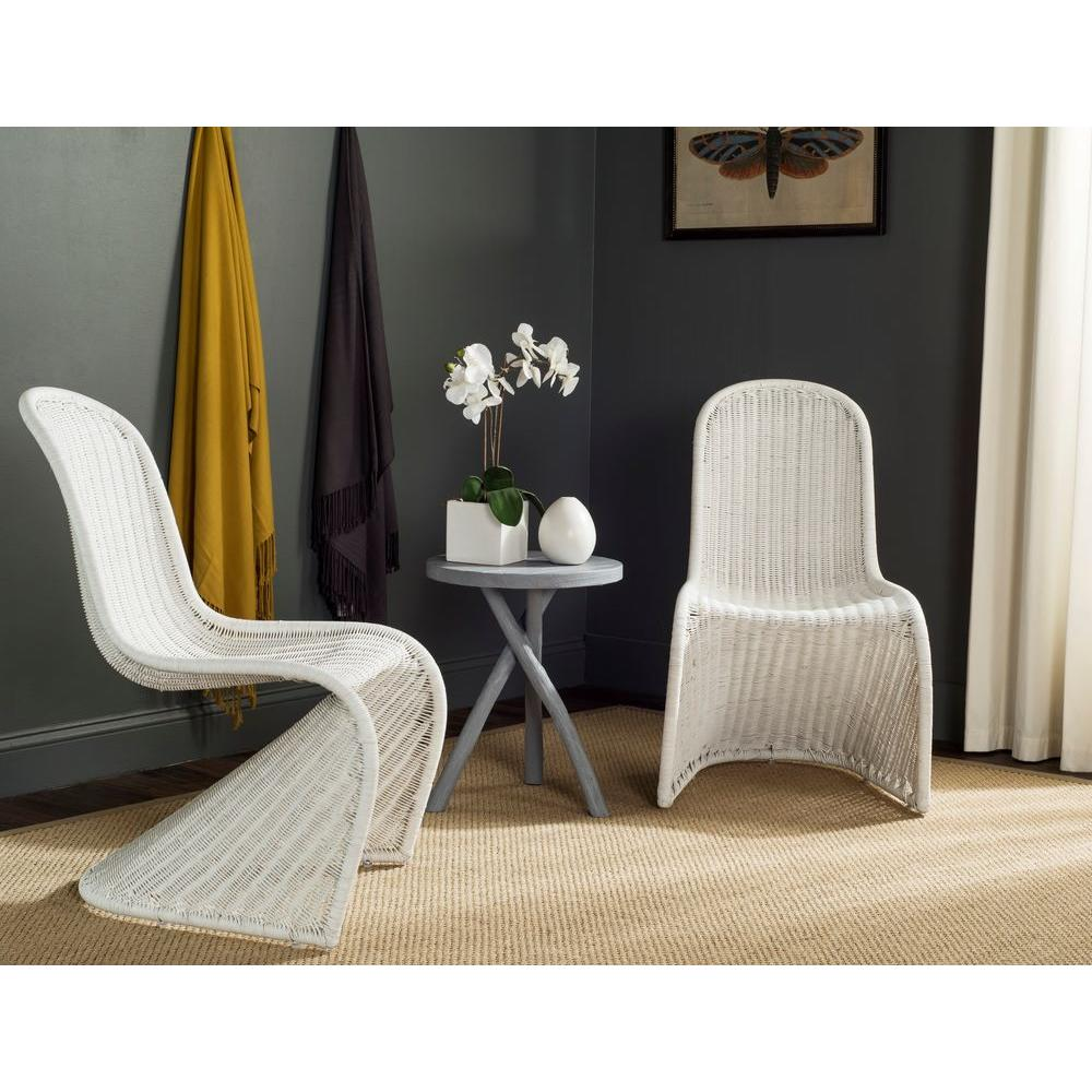 Safavieh Tana White Rattan Dining Chair (Set Of 2