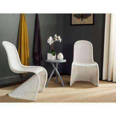 Tana White Rattan Dining Chair (Set Of 2)