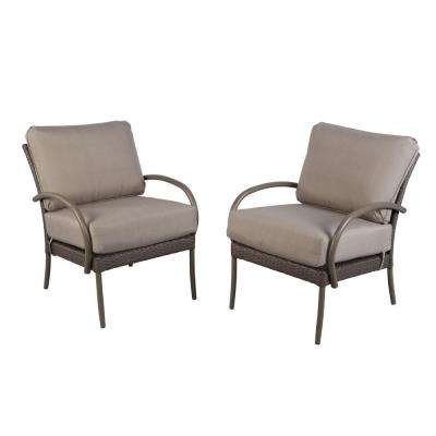 Posada Stationary Metal Outdoor Lounge Chair with Gray Cushion (2-Pack)