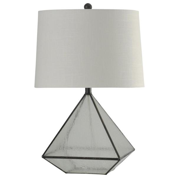27 in. Burke Bronze Table Lamp with White Hardback Fabric Shade