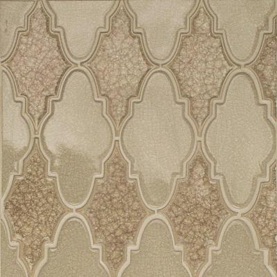 Roman Selection Raw Ginger Arabesque 12-1/4 in. x 13-3/4 in. x 8 mm Glass Mosaic Tile