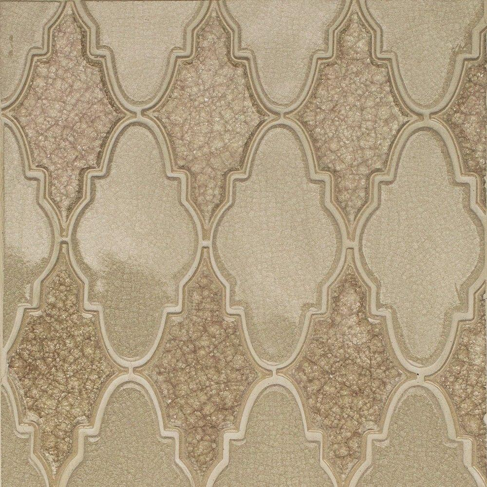 Splashback Tile Roman Selection Raw Ginger Arabesque 12-1/4 in. x ...