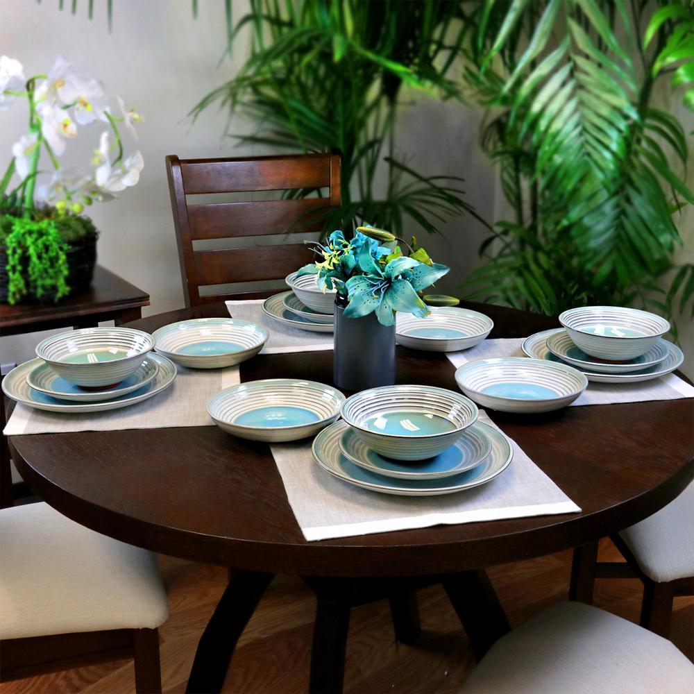 Sunbreeze 16-Piece Rustic Blue Stoneware Dinnerware Set (Service for 4)