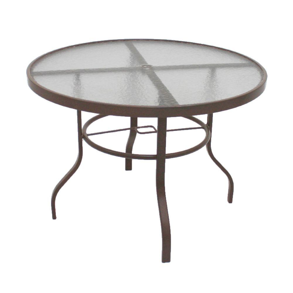 Marco Island Brownstone 42 In. Acrylic Top Commercial Patio Dining Table