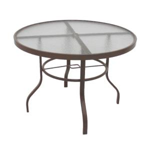Marco Island Brownstone 42 inch Acrylic Top Commercial Patio Dining Table by