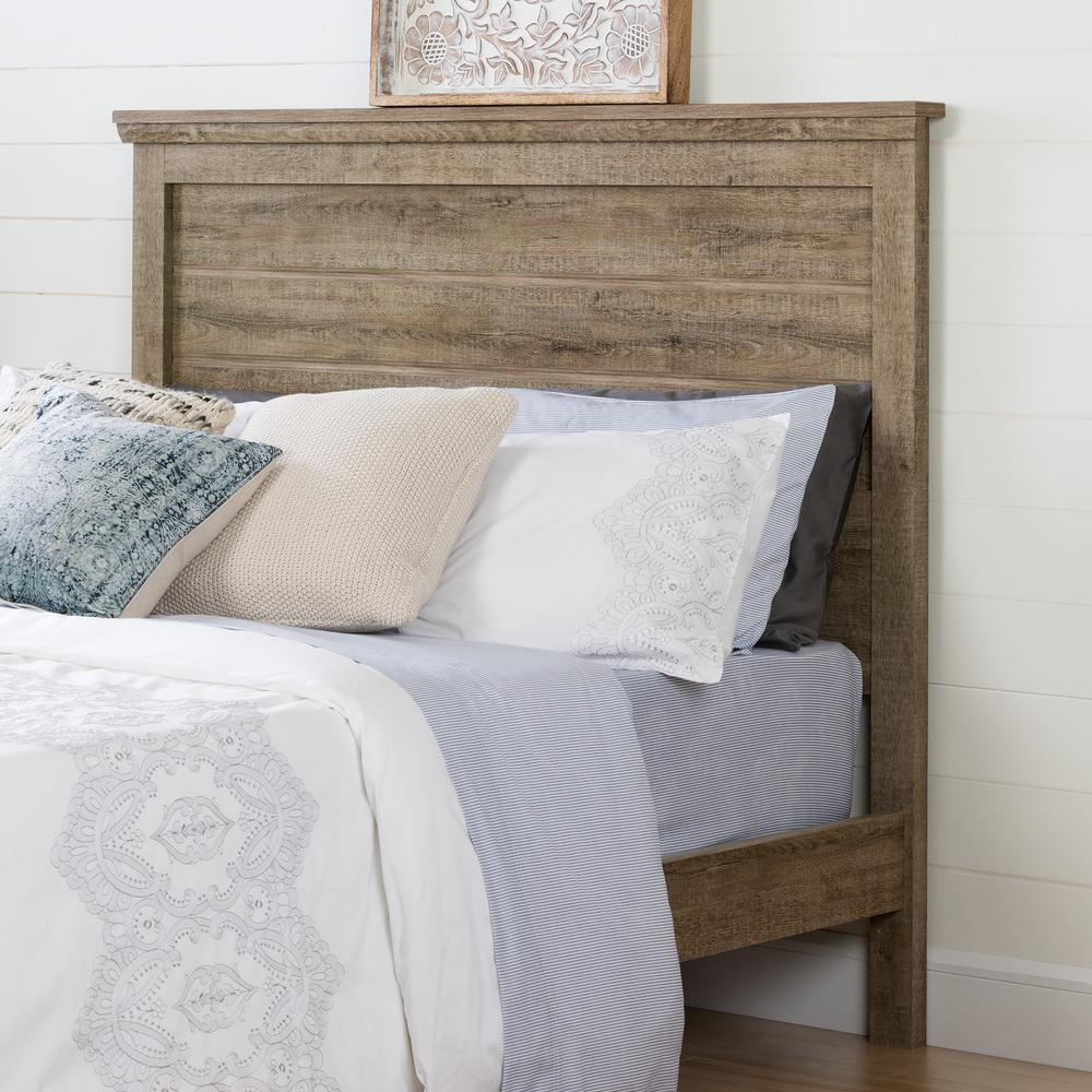 South S Lionel Weathered Oak Queen Headboard