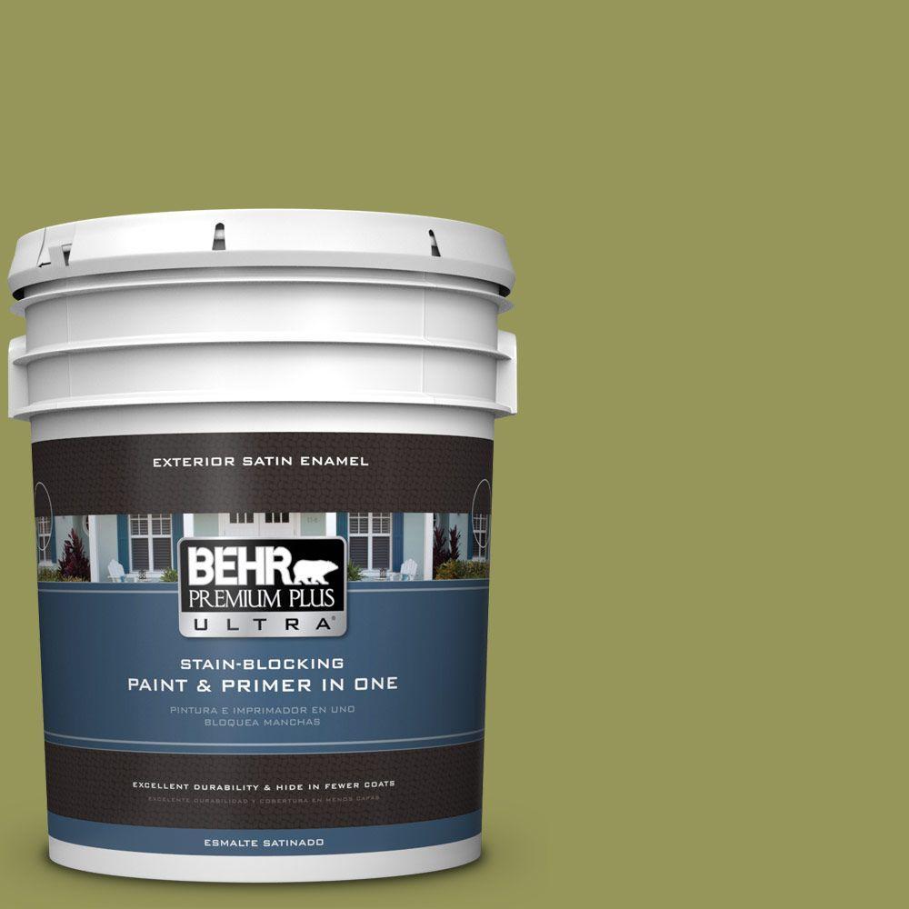BEHR Premium Plus Ultra 5-gal. #M340-6 Spinach Dip Satin Enamel Exterior Paint