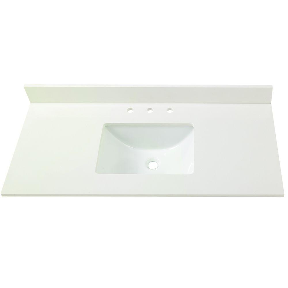 Home Decorators Collection 4 in. W Engineered Marble Single Sink Vanity  Top in Winter White-4004 - The Home Depot