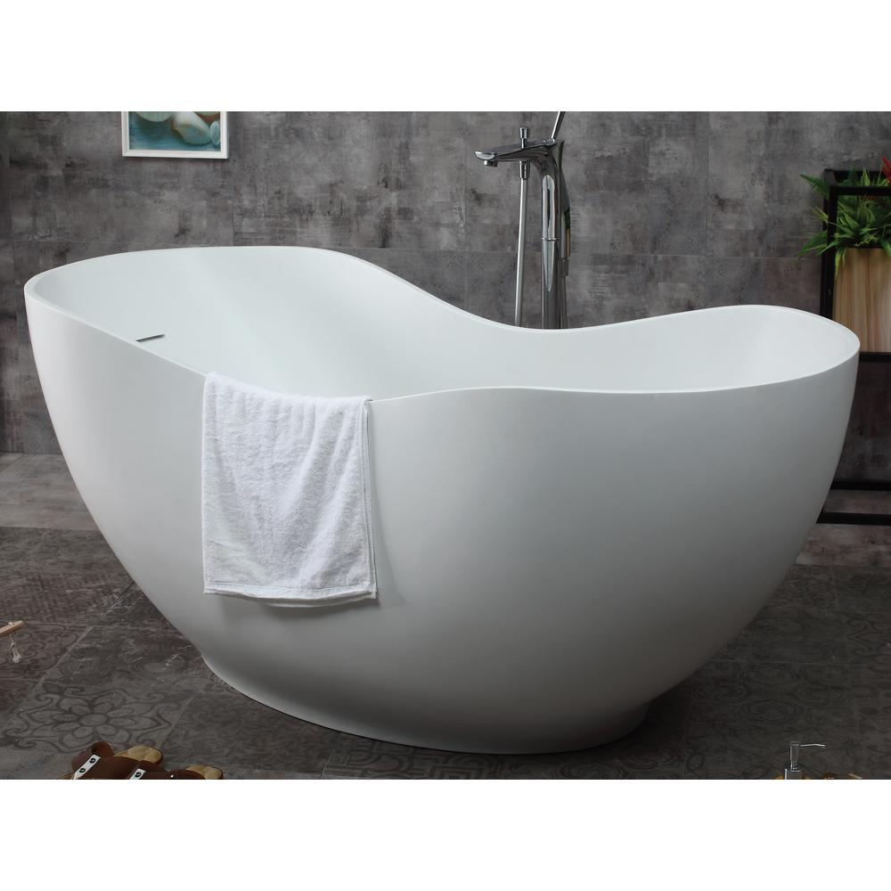 Superieur ALFI BRAND 66 In. Stone Resin Flatbottom Bathtub In Matte White