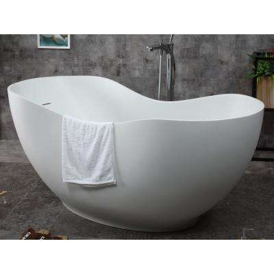 66 in. Stone Resin Flatbottom Bathtub in Matte White