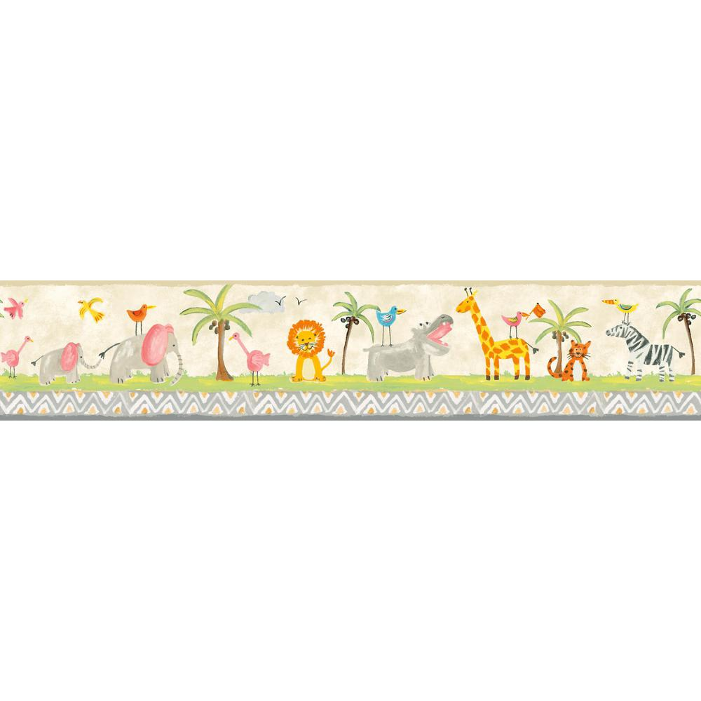 York wallcoverings inc growing up kids jungle boogie for Temporary wallpaper border