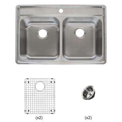 Evolution All-in-One Drop-in Stainless Steel 33 in. 1-Hole 50/50 Double Bowl Kitchen Sink Kit in Satin