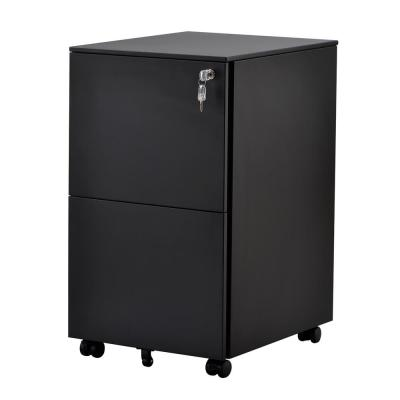 Black 2-Drawers File Cabinet Fully Assembled Except Wheels