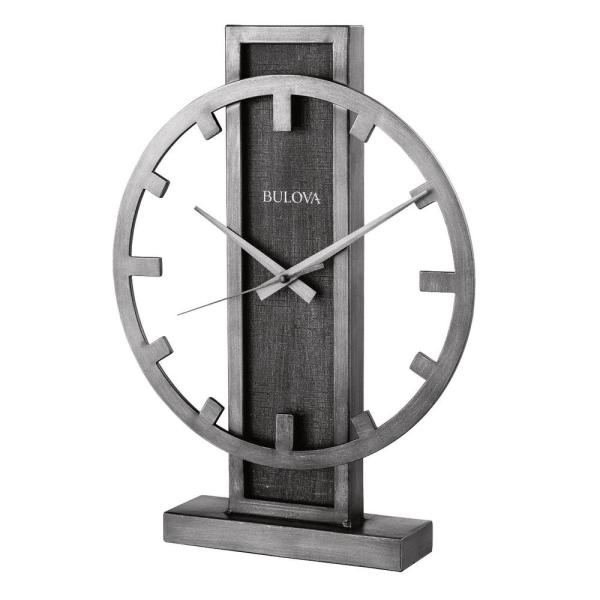 Contemporary Table Clock with Silver Tone Metal Case