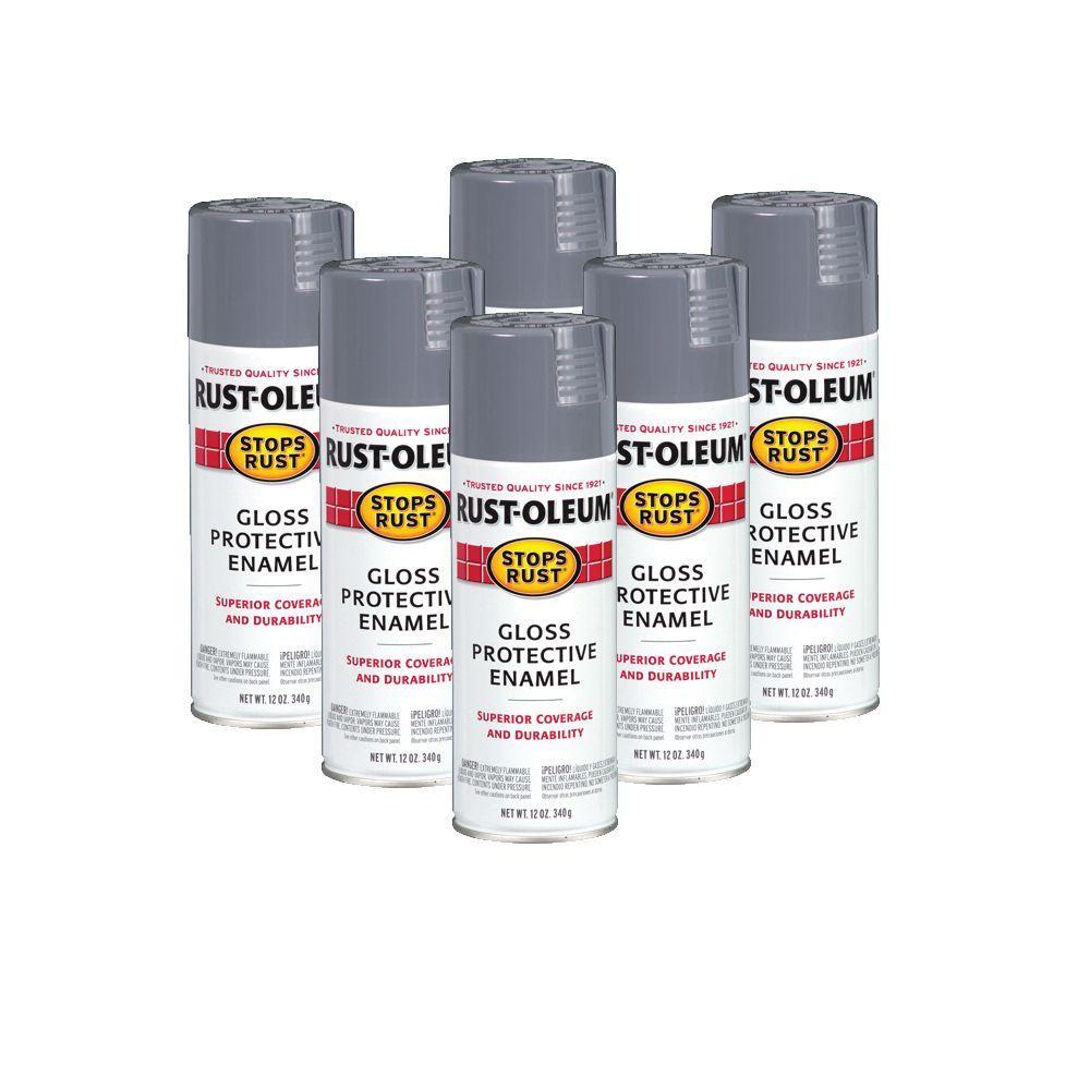 Rust-Oleum Stops Rust 12 oz. Smoke Gray Protective Enamel Spray (6-Pack)-DISCONTINUED