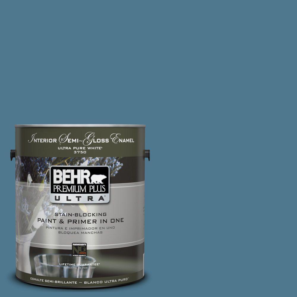 BEHR Premium Plus Ultra 1-gal. #UL230-19 Cayman Bay Interior Semi-Gloss Enamel Paint