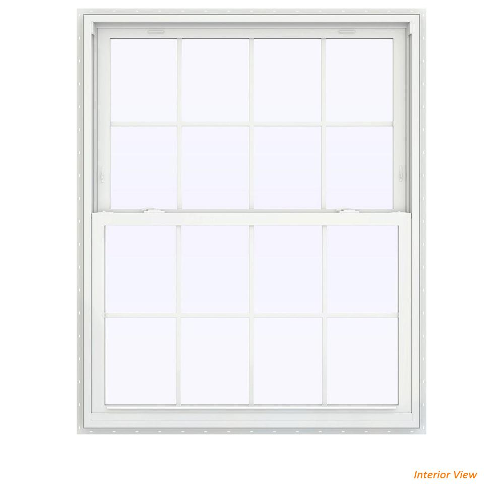 JELD-WEN 43.5 in. x 47.5 in. V-2500 Series Brown Painted Vinyl Double Hung Window with Colonial Grids/Grilles