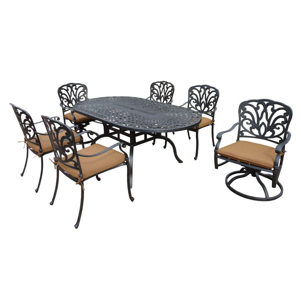 Cast Aluminum Patio Furniture Heart Pattern: Oakland Living Cast Aluminum 7-Piece Oval Patio Dining Set