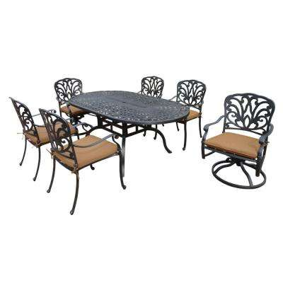 Cast Aluminum 7-Piece Oval Patio Dining Set with Sunbrella Cushions