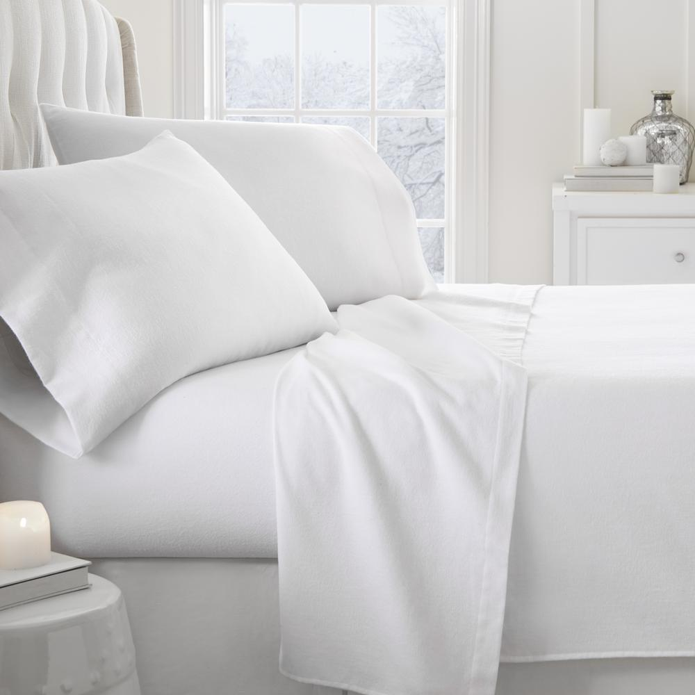 Solid Flannel White California King 4-Piece Bed Sheet Set