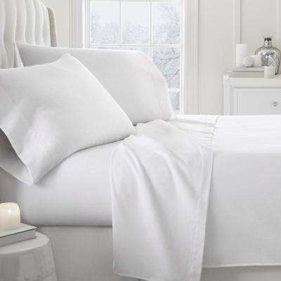 Solid Flannel White Full 4-Piece Bed Sheet Set