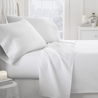 Solid Flannel White Queen 4-Piece Bed Sheet Set