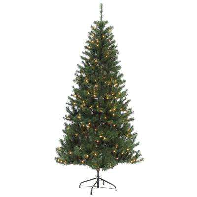 6 ft. Pre-Lit Incandescent Northern Fir Slim Artificial Christmas Tree with 300 UL Clear Lights