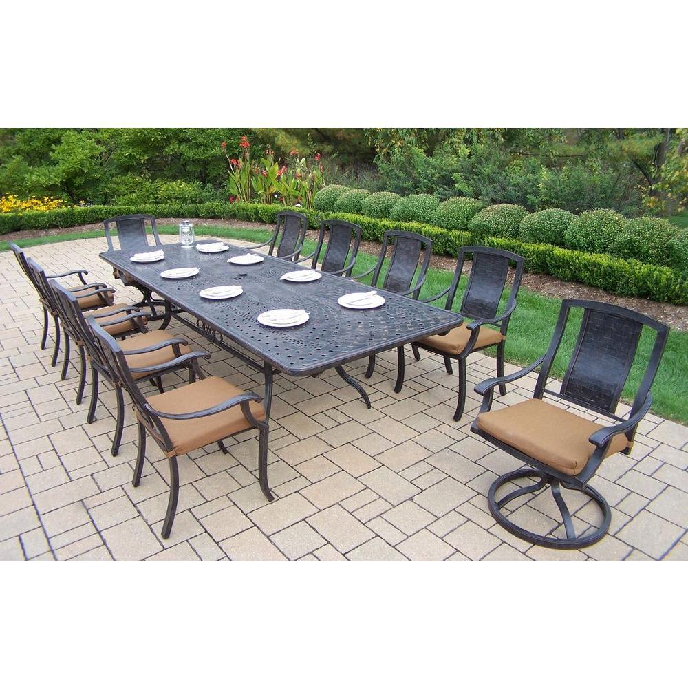 Extendable 11 Piece Rectangular Cast Aluminum Patio Dining Set With Sunbrella Canvas Teak Cushions
