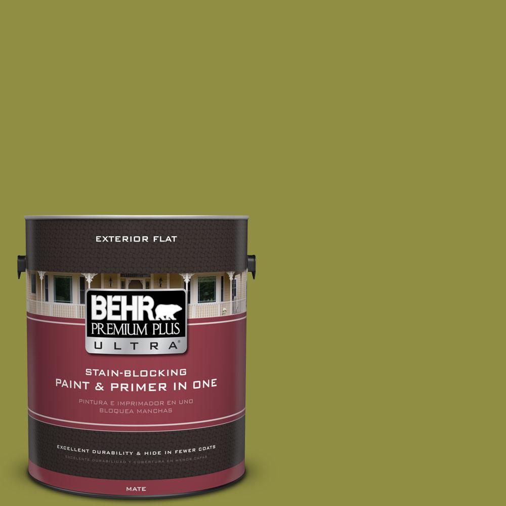 BEHR Premium Plus Ultra 1-gal. #PPU9-3 Retro Avocado Flat Exterior Paint