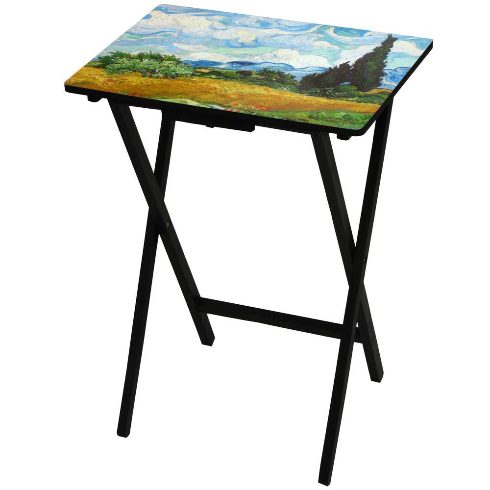 Oriental Furniture 19 in. x 13.75 in. Van Gogh Wheat Field TV Tray in Blue