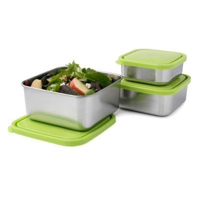 50 oz., 30 oz. and 18 oz. Square Nesting Trio Stainless Steel Food Storage Containers (Set of 3)